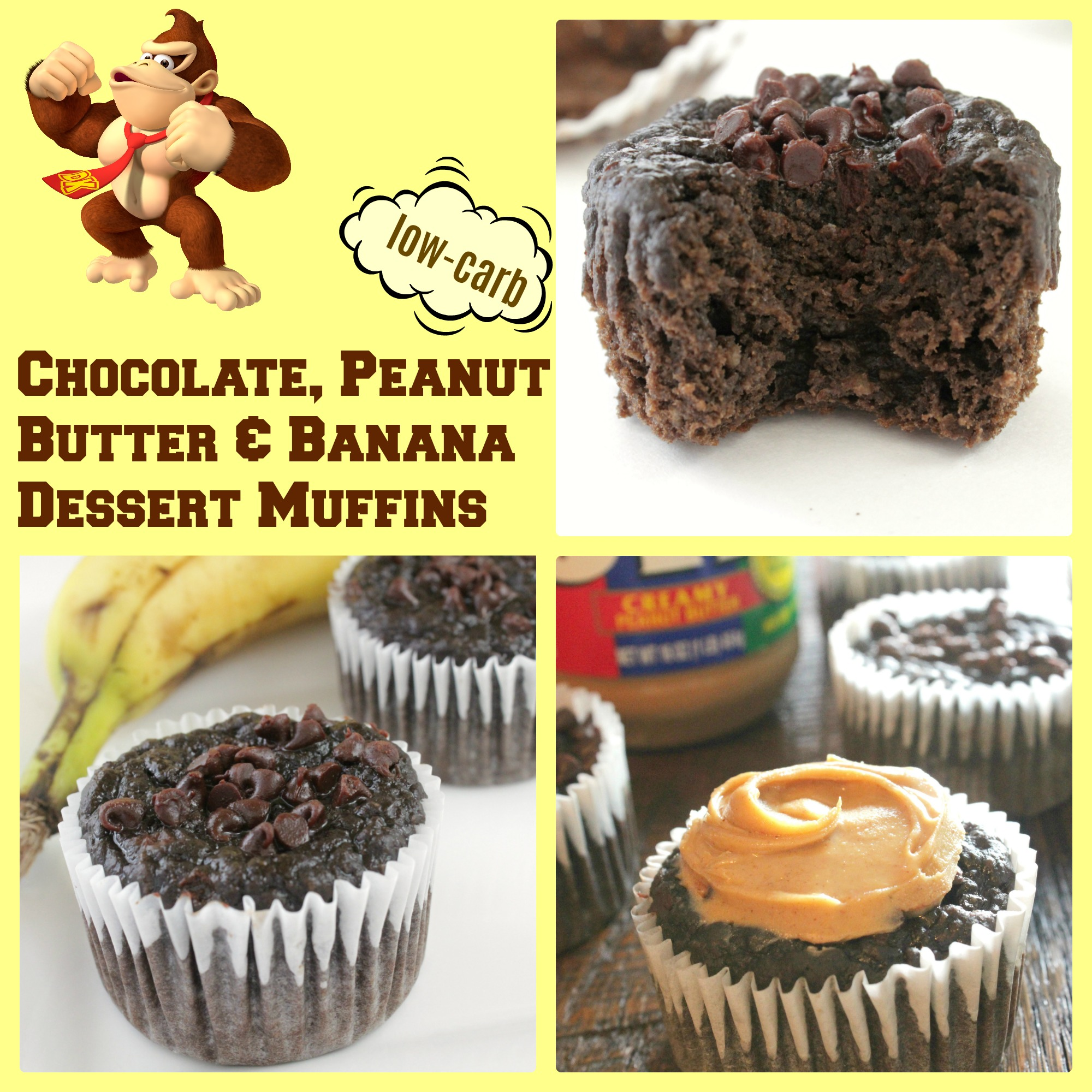 Cocoa Banana Low Carb Dessert Muffins with Peanut Butter - Guilt Free! :)