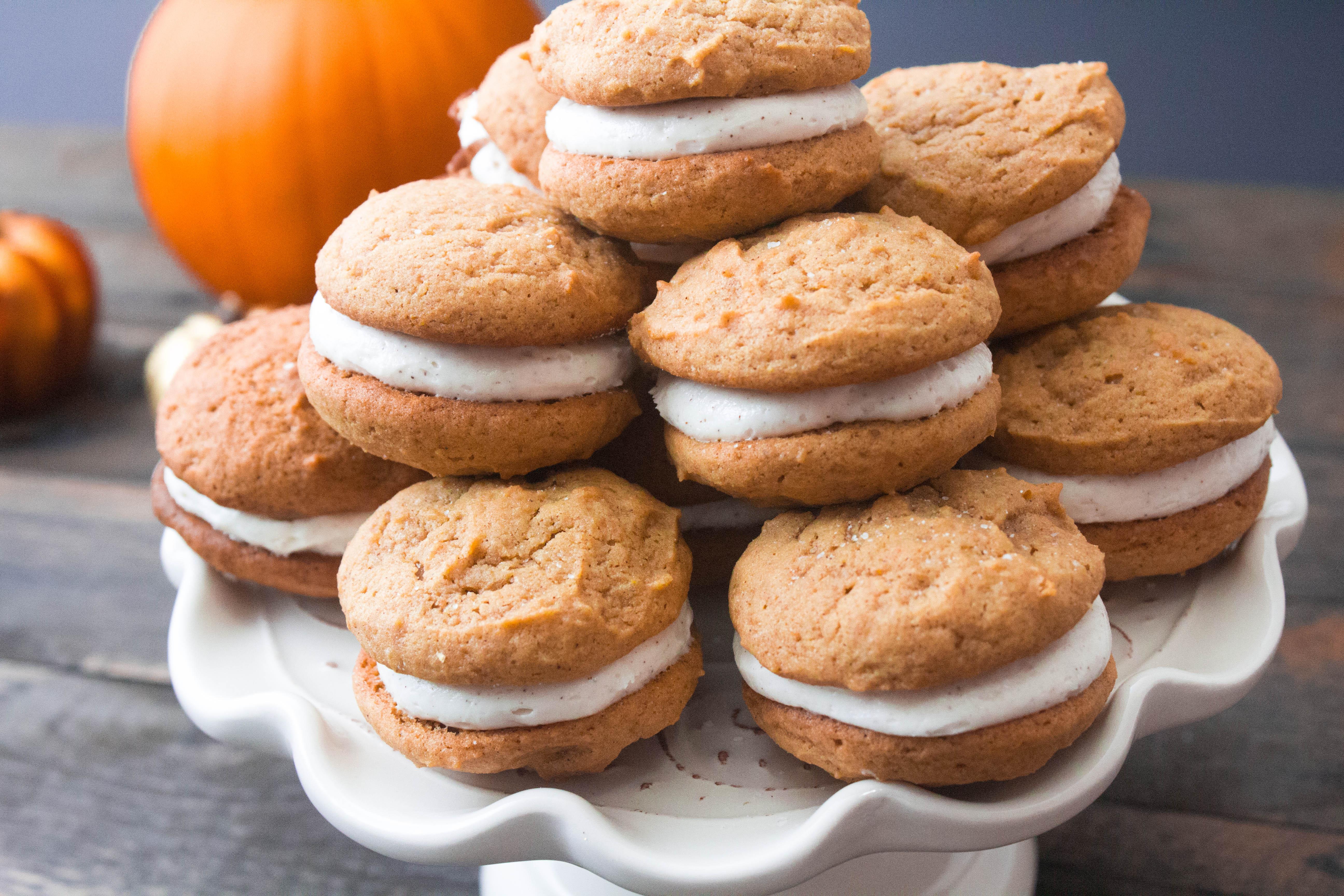 Pumpkin Spice Whoopie Pies w/ Bourbon Cream