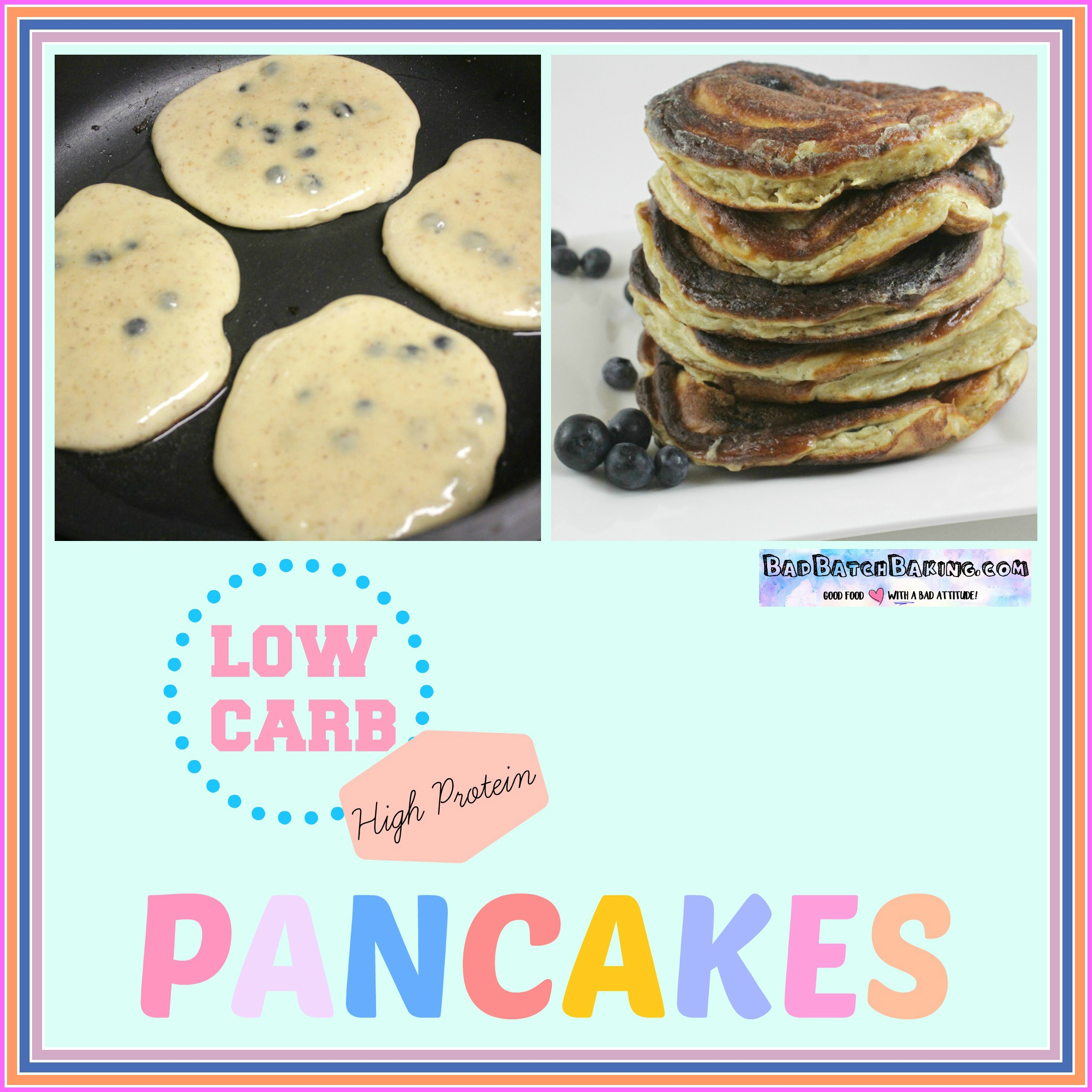 Fluffy High Protein Low Carb Pancakes with blueberries