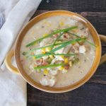 {Light} Savory & Sweet Cauliflower Corn Chowder with Chicken