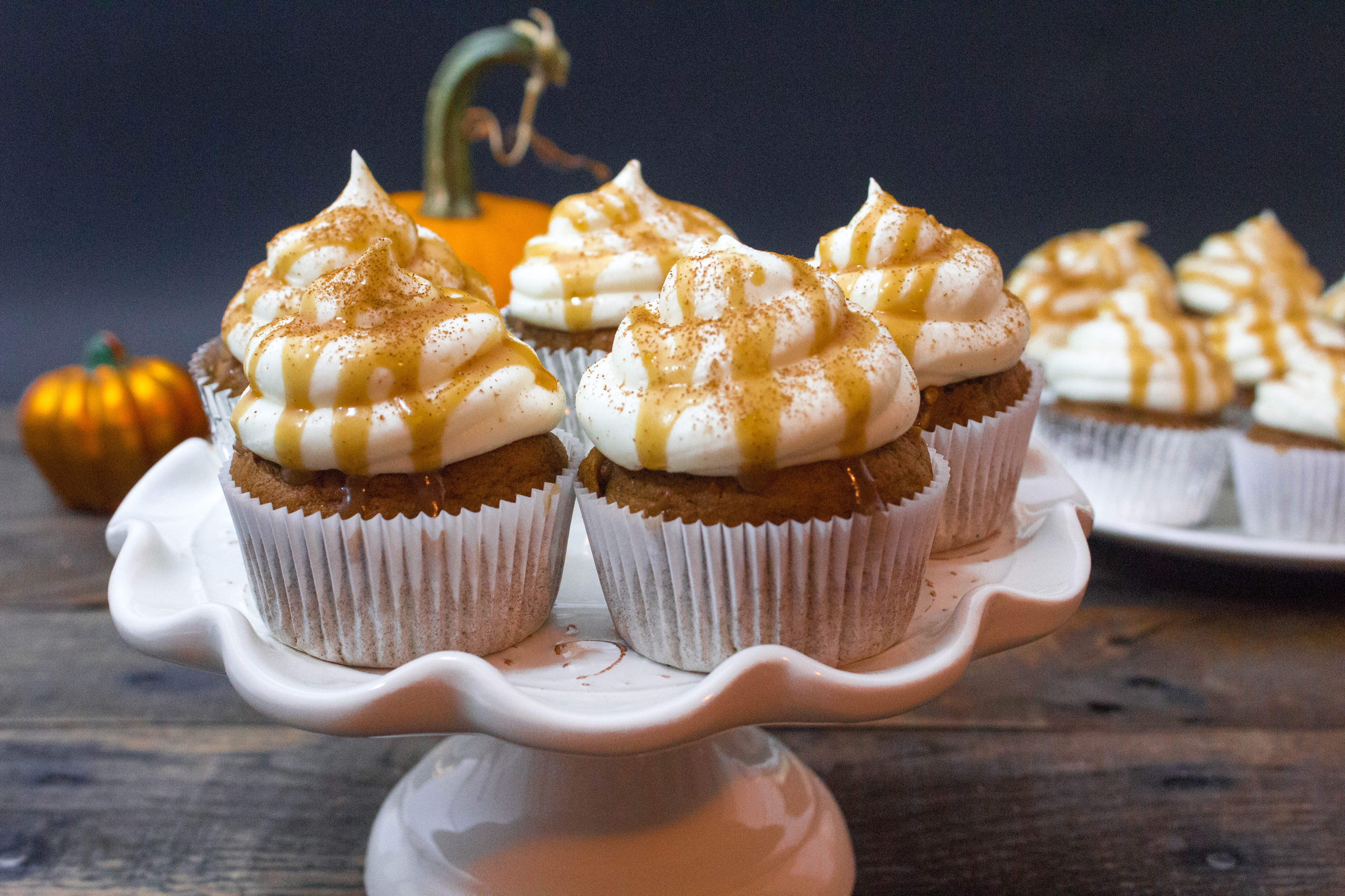 Fluffy Pumpkin Cupcakes with Drizzly Salted Caramel