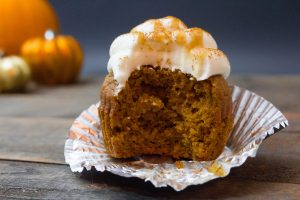 Fluffy Pumpkin Cupcakes with Buttery Salted Dark Caramel