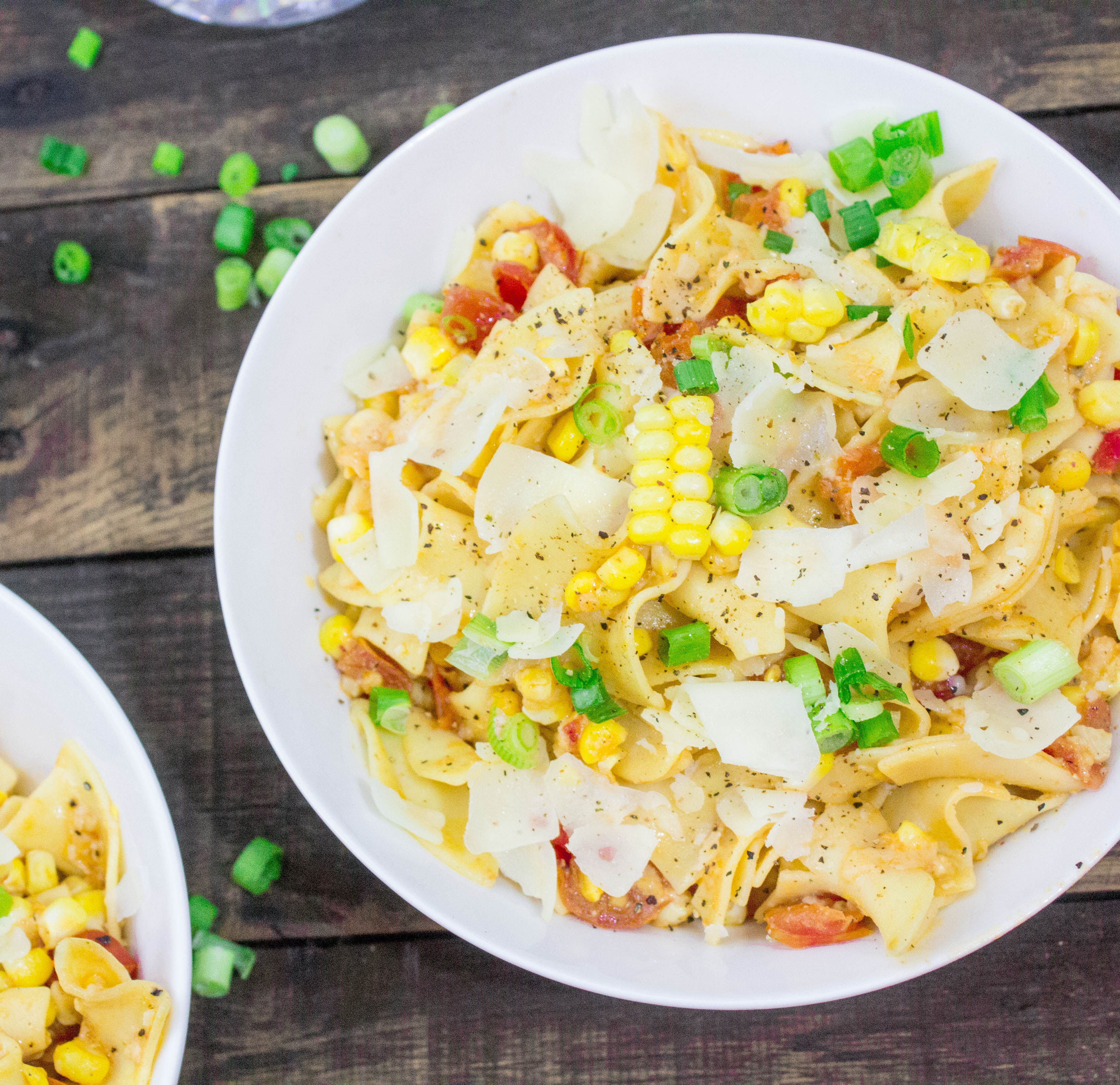 Cheesy Tomato & Corn Pinot Pappardelle