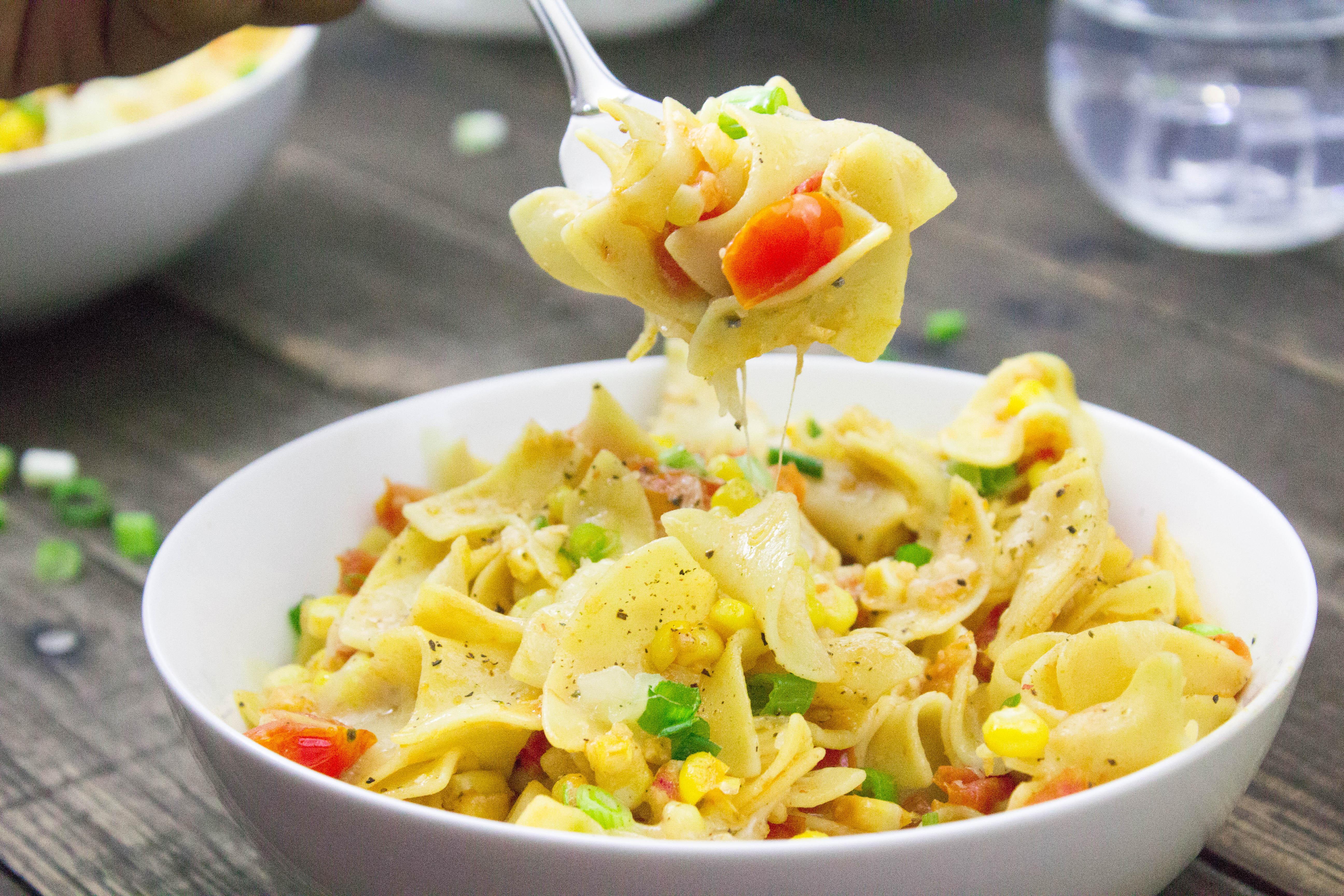 Cheesy Tomato & Corn Pinot Pappardelle