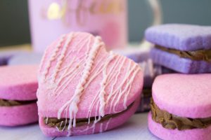 Valentine Heart Sandwich Cookies with Fudge Filling