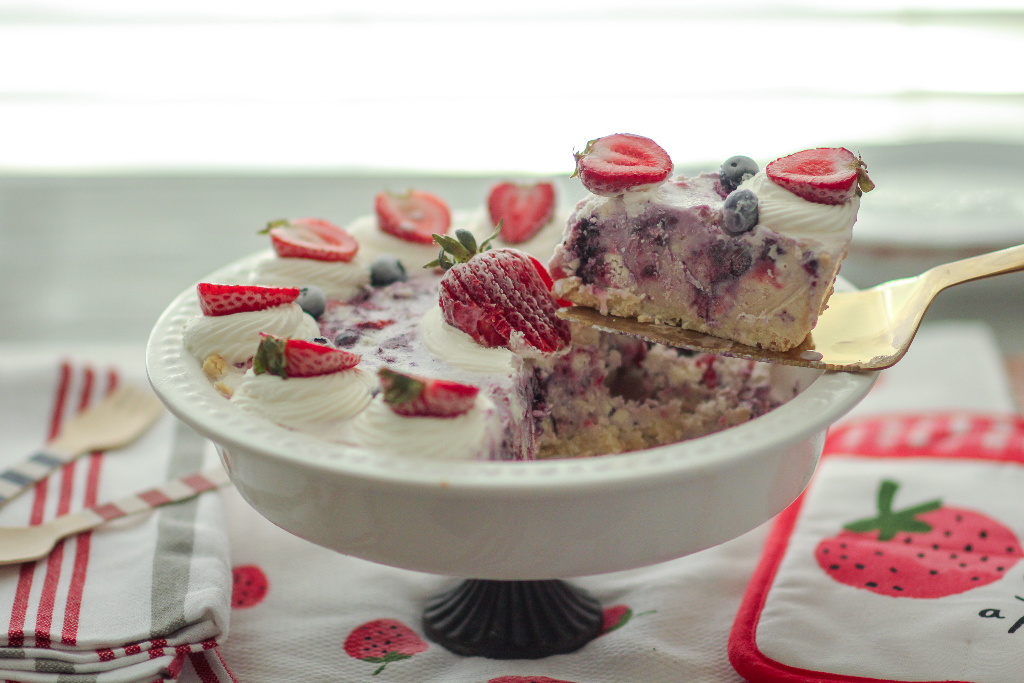 White Chocolate Strawberry Blueberry Ice Cream Cookie Pie