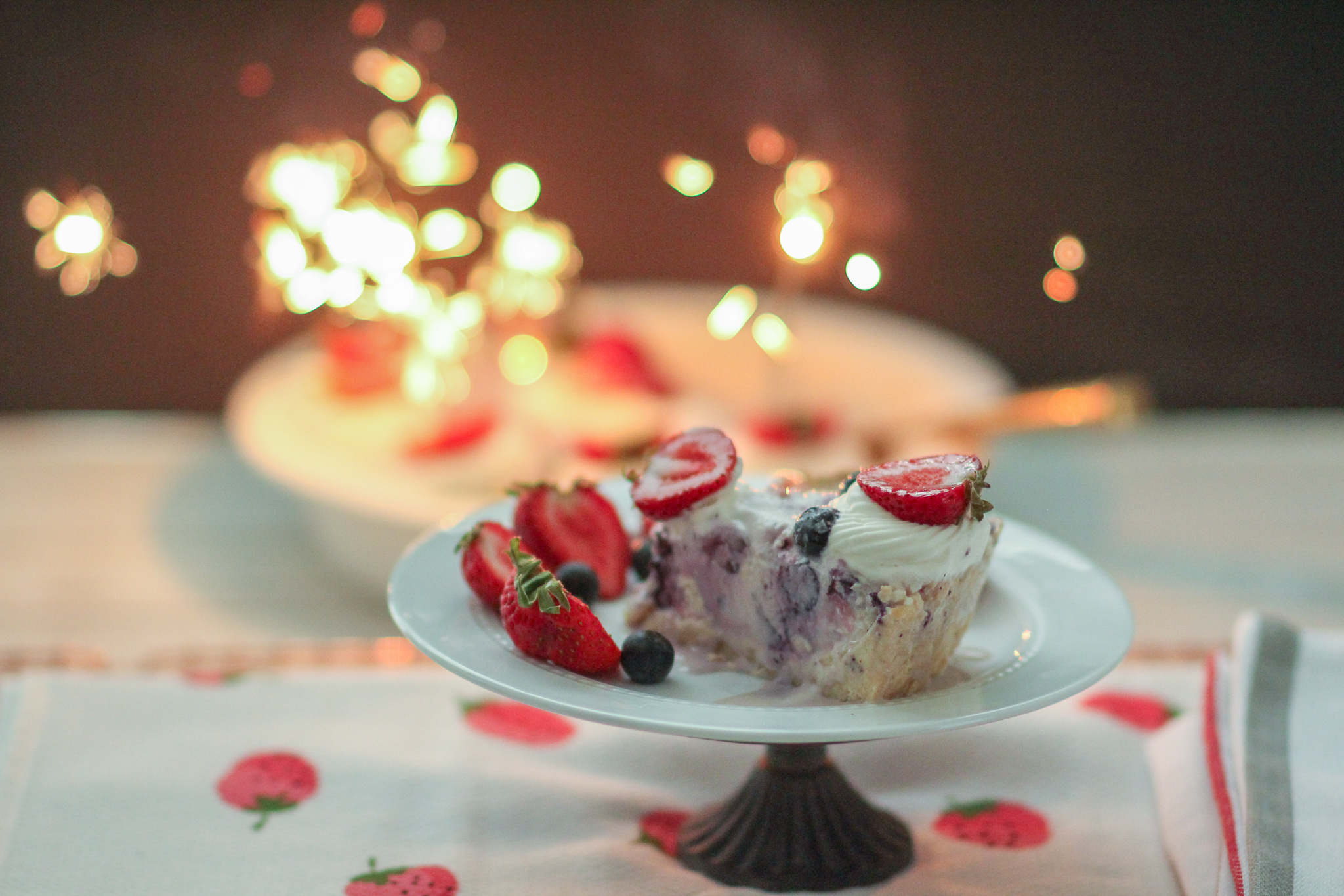 White Chocolate Strawberry Blueberry Ice Cream Cookie Pie
