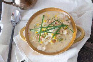 {Light} Cauliflower Corn Chowder with Chicken