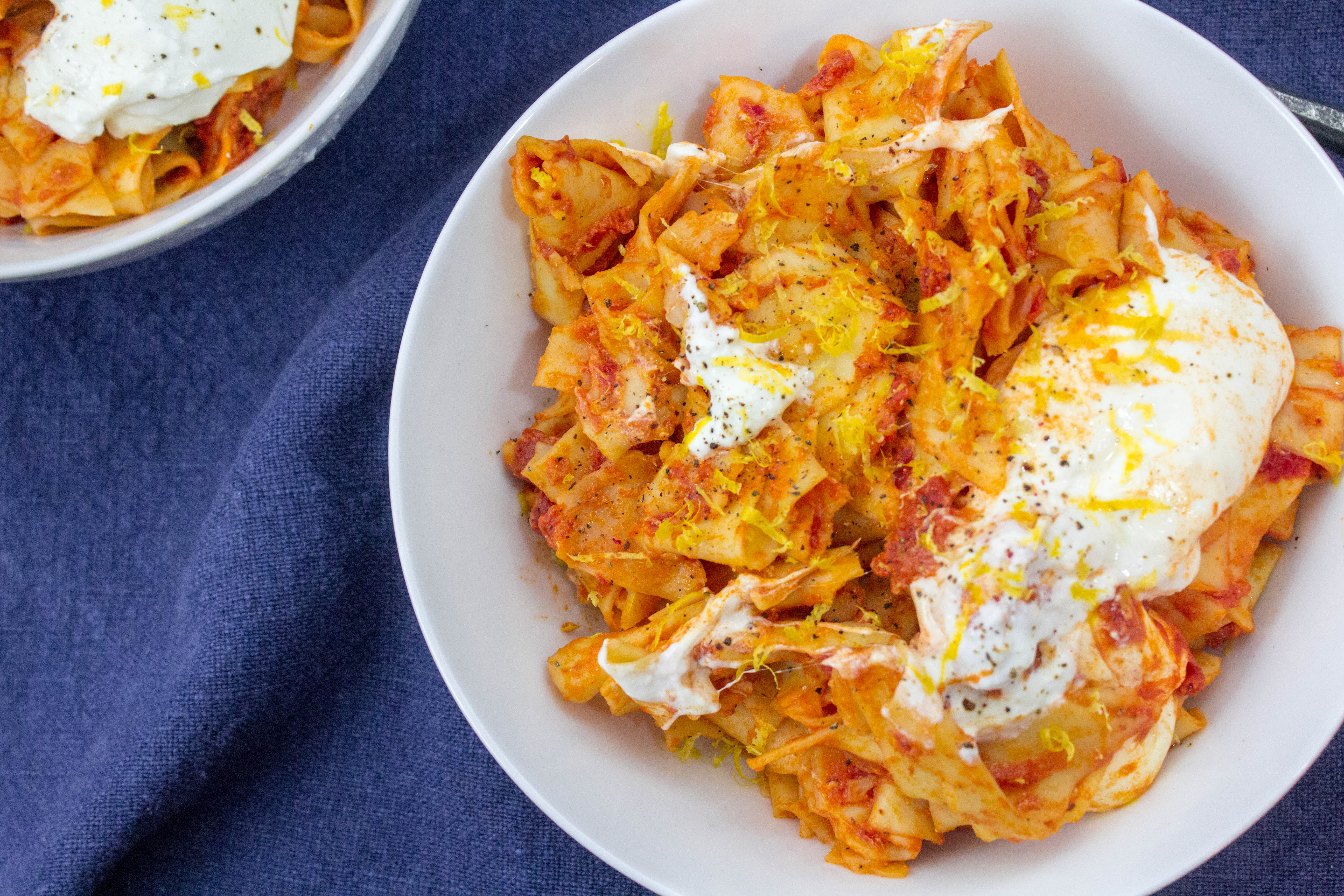 Tomato Pappardelle Pasta with Burrata and Lemon