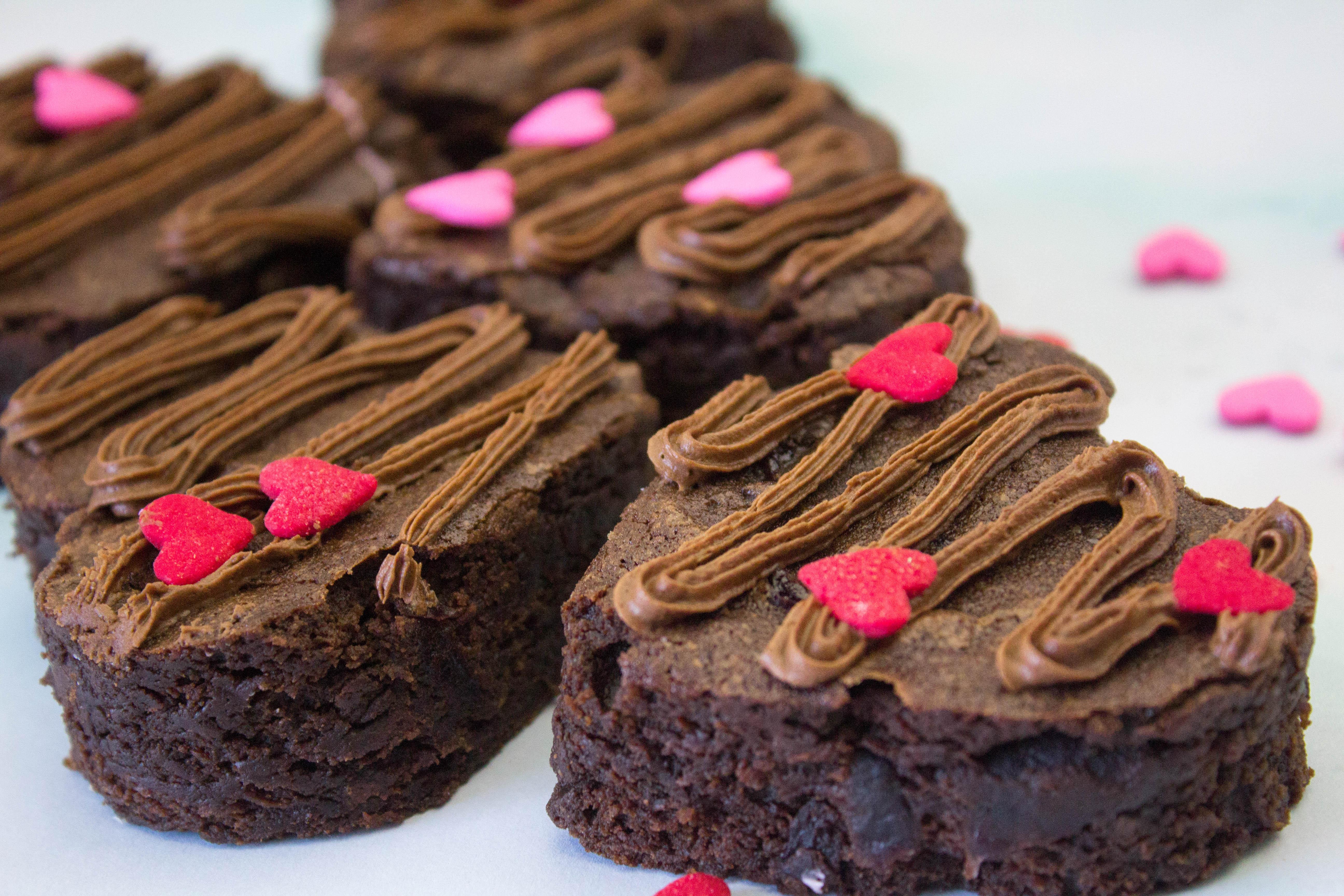 Cherry Chocolate Valentine Heart Brownies