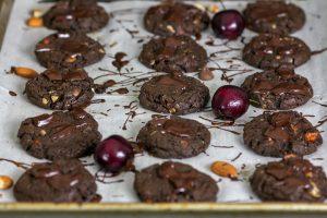 Tart Cherry Almond Chocolate Cookies (Kathleen King Remixed)