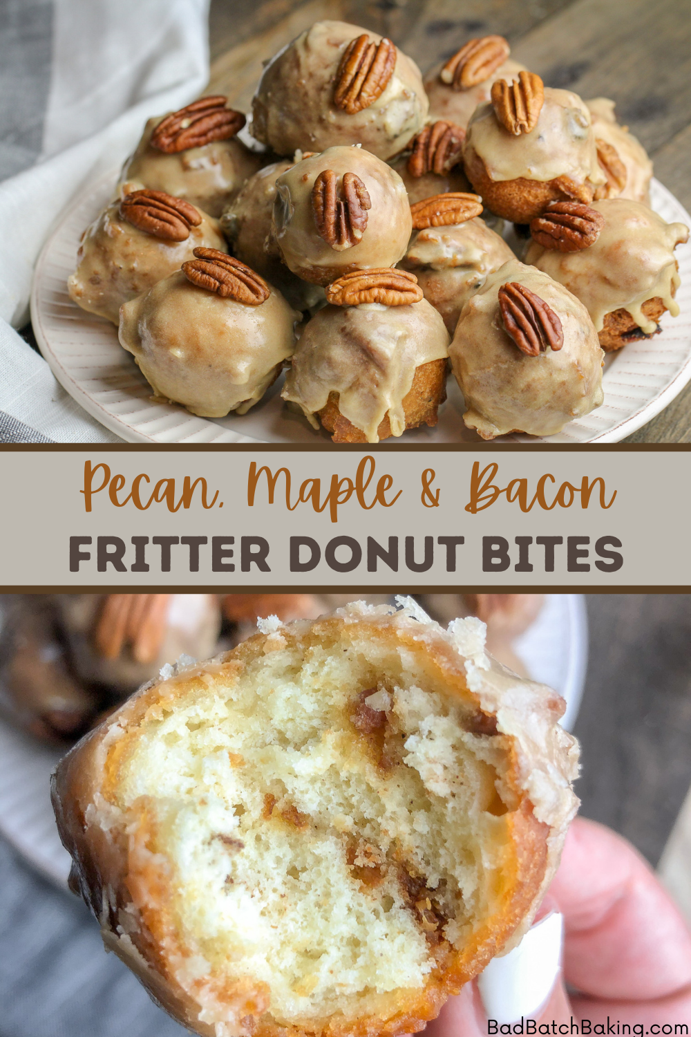 Pecan, Maple and Bacon Fritter Donut Bites